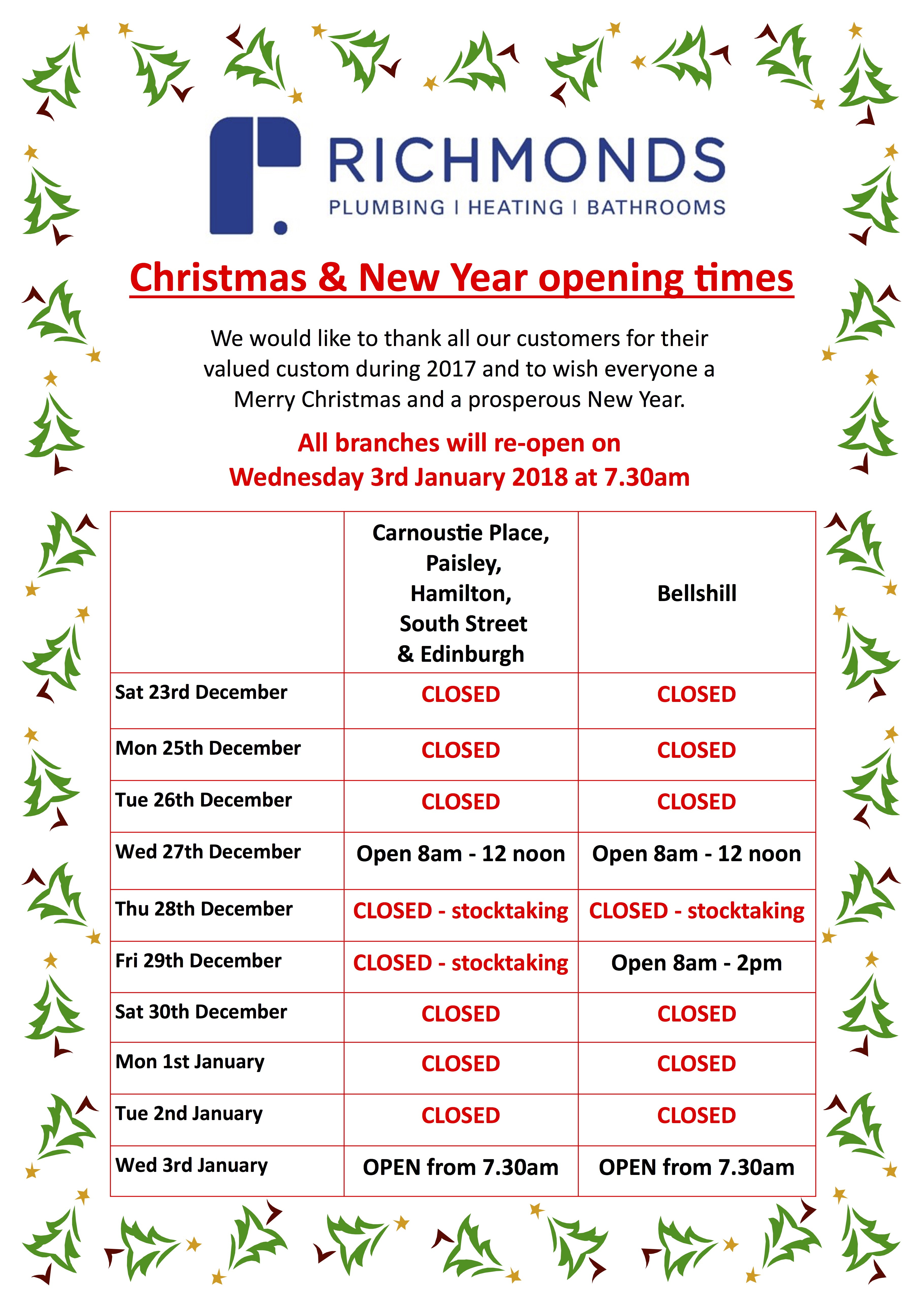 Christmas Opening Times 2017